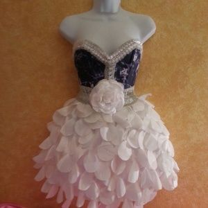 Denim & Diamonds Corset & Petal Taffeta Skirt Set
